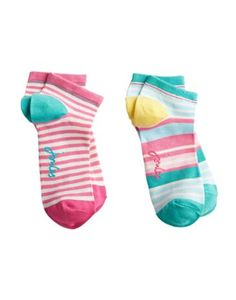 Joules Womens Trainer Socks, Opal Blue.                     You love our bamboo socks and we listened to your requests for shorter trainer socks.  With the benefits of being hypoallergenic and thermo-regulating they're perfect whatever your sport. Sold in a twin pack.