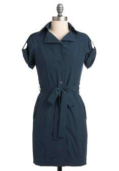 Interview Advice Dress - Blue, Solid, Buttons, Work, Epaulets, Shirt Dress, Short Sleeves, Rockabilly, Short