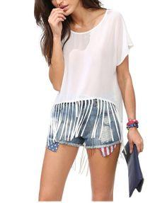 White Tassels Chiffon T-Shirt