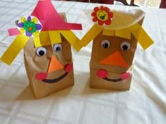 Cute girl and boy brown lunch bag scarecrow craft.  Scarecrow Theme/Unit - great ideas and more.
