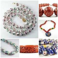 """Vintage Chinese Jewelry: Cloisonne, Cinnabar, and Porcelain #jewelry #vintage #cinnabar #cloisonne #Chinese #Asian #Porcelain #ChineseJewelry #CinnabarNecklace #CinnabarBangle #CloisonneNecklace #Enamel #coupon #discount #deals  Pinterest exclusive #discount    Use #coupon code """"PIN20"""" at checkout to receive 20% off your total purchase at #cherryorchardattic (https://www.etsy.com/shop/cherryorchardattic) on #Etsy"""