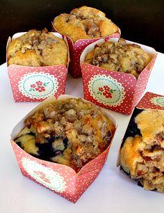 muffins de mirtilo e streusel