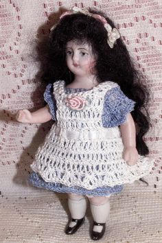 """Dress & Pinafore for 3.5"""" - 4.5"""" Antique BISQUE Miniature Cabinet Dollhouse Doll"""