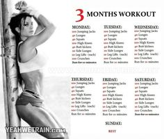 3 Months Workout Plan for Women – Sixpack Butt Legs Exercises Ab – Yeah We Train ! 3 Months Workout Plan for Women – Sixpack Butt Legs Exercises Ab –… 3 Month Workout Plan, Workout Plan For Women, Workout Challenge, Workout Women, Fitness Plan For Women, Female Workout Plan, Weekly Workout Plans, 90 Day Challenge, Challenge Accepted