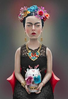 """She was truly awesome.  """"I drank to drown my sorrows, but the damned things learned how to swim."""" - Frida Kahlo.   Illustration by Felipe Bedoya Art"""