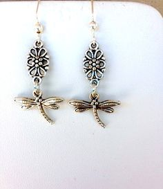Steampunk Tiny Dragonfly Dangle Earrings with by LynnetteJewelry, $15.00
