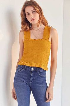 faf436300409e2 Ecote Smocked Y-Back Tank Top Cropped Tank Top