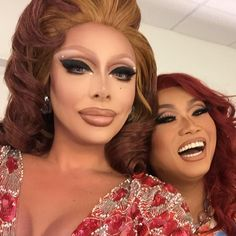 Raven and Jujubee Drag Queen Makeup, Drag Makeup, Rupaul, Raven Drag Queen, Adore Delano, Drag King, Flawless Makeup, Double Trouble, Beautiful Couple