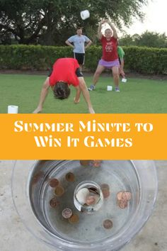 HOT Outdoor Minute to Win It Games for Summer - Peachy Party Group Games, Fun Games, Games For Kids, Summer Party Games, Minute To Win It Games, Kiddie Pool, Team Building Activities, Adult Games, Fun At Work