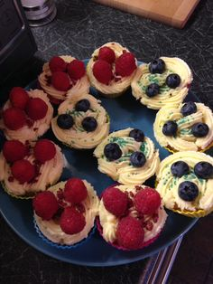 Raspberry and blueberry homemade cupcakes.
