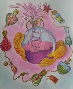 Tangle magic by Jessica Palmer coloured using wh smith pencils and inscribe pastels