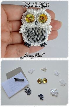 How to Make a Snowy Owl: Make a pretty beaded owl brooch or pendant with this free beading pattern!