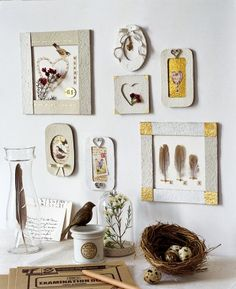 Frames made from reused cardboard egg cartons - nice embellishments, too   #reduce #reuse #recycle