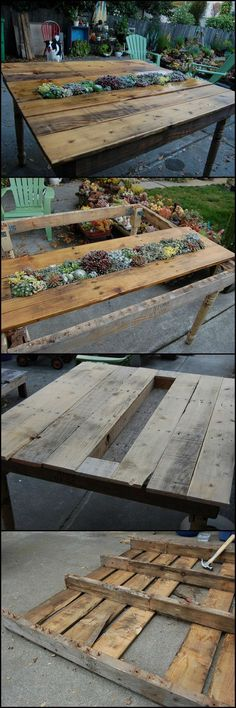 DIY Succulent Table: Recycled Pallets and Table Legs  http://theownerbuildernetwork.co/gdzp  Can you believe that this table with a living centrepiece was made from recycled pallets and some old table legs?