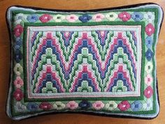 vintage BARGELLO NEEDLEPOINT PILLOW completely stitched & finished w velvet back