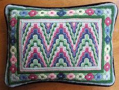 vintage BARGELLO NEEDLEPOINT PILLOW completely stitched & finished w velvet back