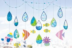 Decor Crafts, Diy And Crafts, Crafts For Kids, Arts And Crafts, Paper Crafts, Children's Day Japan, Kindergarten Art, Ocean Themes, Child Day