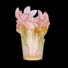 Daum Crystal Amaryllis Vase Pink  Size: 6.7 inches tall  Made By Hand In France  Kiln Fired For 10 Days  Every piece is unique, no two Daum crystals are exactly alike.  Since 1878 Daum Crystal has been the ultimate in luxury.