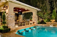 backyard swimming pool with swim up bar - 20 Yr Amortization Calculator - See how home insurance affect your mortgage. - backyard swimming pool with swim up bar Backyard Cabana, Casa Patio, Backyard Pool Designs, Swimming Pools Backyard, Swimming Pool Designs, Backyard Patio, Outdoor Pool, Outdoor Spaces, Outdoor Living