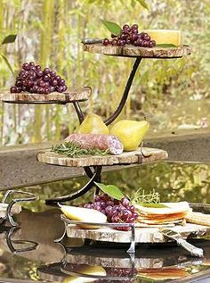 Rustic and functional, the Petrified Wood Three-Tier Tray is an entertaining essential perfect for summertime parties.