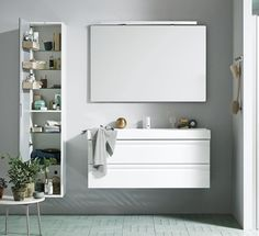 Canto 1200mm basin with integrated handles on white vanity unit, Mirror with Light, Tall Unit with shelving. Bathroom furniture | dansani.co.uk