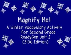 Make your literacy stations festive with this motivating ReadyGen vocabulary activity.  Students use a magnifying glass to locate the vocabulary presented in the stories for unit 2 (2016 publication), write them on the recording sheet, and write sentences for five or more of the words.