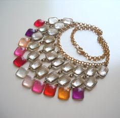 Crystal Chandelier Statement Necklace in Pink Shades
