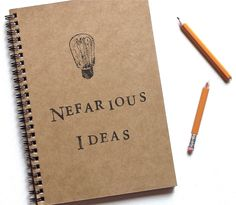 Nefarious Ideas hand stamped notebook spiral journal from TheBlackSpruce on Etsy. Saved to Gifts. Sticker Shop, Hand Stamped, Spiral, Stationery, Geek Stuff, Notes, Cartoons, Writing, My Favorite Things