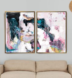 Set of 2 Prints Abstract Art Print Set 2 Abstract Prints Grand Art Mural, Art Rose, Modern Art Paintings, Oeuvre D'art, American Art, Abstract Art, Original Art, Canvas Art, Art Prints