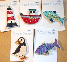 From Days In Design www.etsy.com/shop/daysindesign www.daysindesign.co.uk Fabric puffin brooch. Textile sea bird jewellery by DaysInDesign