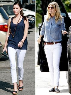 white pants and toms. love it.