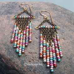 Metallic Beaded Chandelier Earrings Free US por KRDesign en Etsy