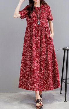 Women loose fit dress pocket ethnic flower tunic s Simple Dresses, Cute Dresses, Casual Dresses, Loose Dresses, Linen Dresses, Cotton Dresses, Modest Fashion, Fashion Dresses, Look Fashion