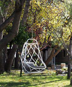 Contemporary metal suspended garden chair - NAUTICA by Mut Design - expormim