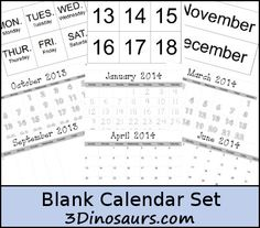 Free Blank Calendar Set and Pages Printables - 3Dinosaurs.com