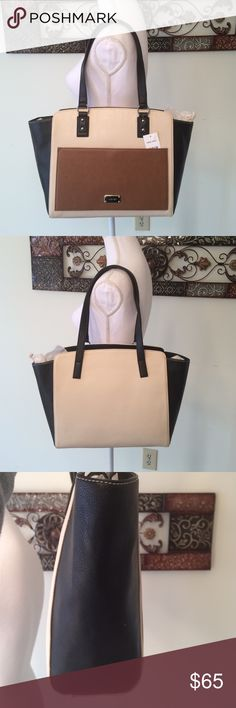 ❄️sale❄️ Nine West Stepping Forward Tote Brand new Nine West Stepping Forward Tote. Black, tan, and cream with silver hardware in the handles. magnetic closure Nine West Stepping Forward Tote Bag Exterior: Feature Faux Leather Fabric, Silver Toned Hardware & Front Slip Pocket With Magnetic Closure Top magnetic Closure Dim Approx: 14.5 Inches (Length) x 11 Inches (High) x 4.5 Inches (Depth), Shoulder Drop 9.5 Inches Interior: 1 Large zip Pocket & 2 Slip Pockets with beige nylon Fabric. Open…