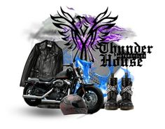 """""""Thunder House , Motorcycles"""" by postcards-from-wonderland ❤ liked on Polyvore featuring art"""