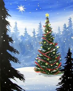 We host painting events at local bars. Come join us for a Paint Nite Party! Easy Canvas Painting, Winter Painting, Winter Art, Painting & Drawing, Canvas Art, Christmas Paintings On Canvas, Christmas Tree Painting, Christmas Canvas, Noel Christmas