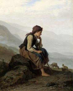 """""""The Little Goat Herder"""", by German artist - Johann Georg Meyer von Bremen (1813-1886), Oil on canvas."""