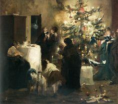 Weihnachtsfeier in der Familie Leibl. Gemälde von Fritz Schider