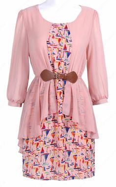 Pink Sailboat Print Half Sleeve Belt Dress