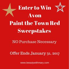 Enter to WIN Avon Sweepstakes January 2017. The Paint the Town Red Giveaway features Avon Little Red Dress. ENTER Avon Giveaway HERE!