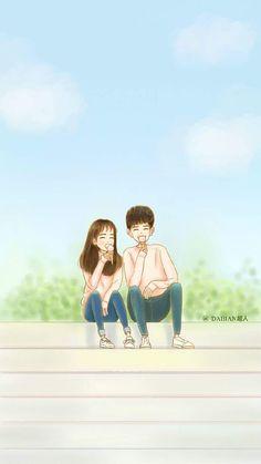 W wallpaper 🌙 Love Cartoon Couple, Cute Love Cartoons, Cute Love Couple, Anime Love Couple, Cute Anime Couples, Cartoon Love Photo, Cute Couple Wallpaper, Cute Love Stories, W Two Worlds