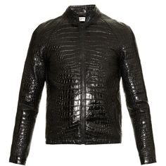 Saint Laurent Crocodile-effect leather bomber jacket ($2,394) ❤ liked on Polyvore featuring men's fashion, men's clothing, men's outerwear, men's jackets, black, mens leather flight jacket, mens crocodile jacket, mens leather jacket and mens leather bomber jacket