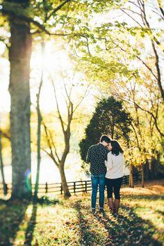 Gorgeous cozy outdoor engagement photo idea