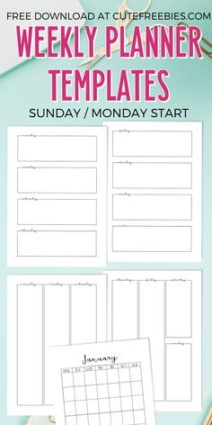 Weekly planner template - free printable PDF with monthly pages Sunday start or Monday start weekly planner #cutefreebiesforyou #freeprintable SEE PREVIOUS POST TO DOWNLOAD THE PDF FILE Free Calendar Template, Weekly Planner Template, Templates Printable Free, Printable Planner, Free Printables, Schedule Templates, Start Planner, Blog Planner, Planner Pages