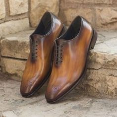 Whole Cut Dress Shoes in Cognac and Denim Blue Crust Hand Patina