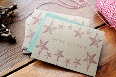 Set of 5 Happy Holidays Letterpress Christmas by olivejuicepress