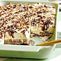 """No-Bake Grandma & Katie's Frozen Dessert - Mmmmm.looks delectable! What a unique dessert to make in the warm summer months! Chocolatey, peanut butter goodness combined with cold, velvety ice cream. I like the use of rice krispies for the """"crust. Ice Cream Desserts, Frozen Desserts, Frozen Treats, Just Desserts, Delicious Desserts, Dessert Recipes, Yummy Food, Recipes Dinner, Dinner Ideas"""