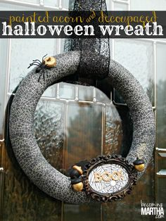This Halloween wreath was created with Martha Stewart decoupage formulas and papers, along with multi-surface paints to create a cute and elegant wreath.